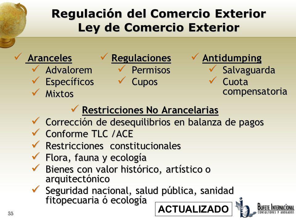 Regulación del Comercio Exterior Ley de Comercio Exterior