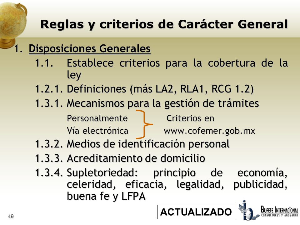 Reglas y criterios de Carácter General