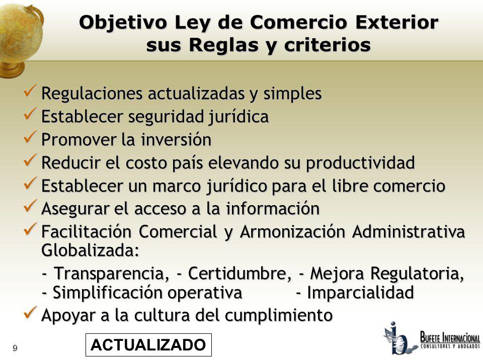 Objetivo Ley de Comercio Exterior sus Reglas y criterios