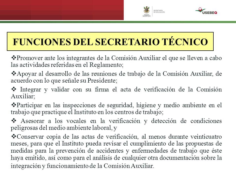 FUNCIONES DEL SECRETARIO TÉCNICO