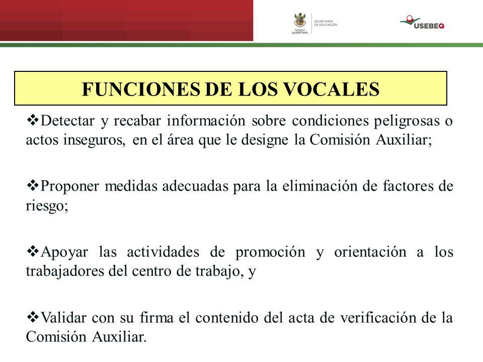 FUNCIONES DE LOS VOCALES