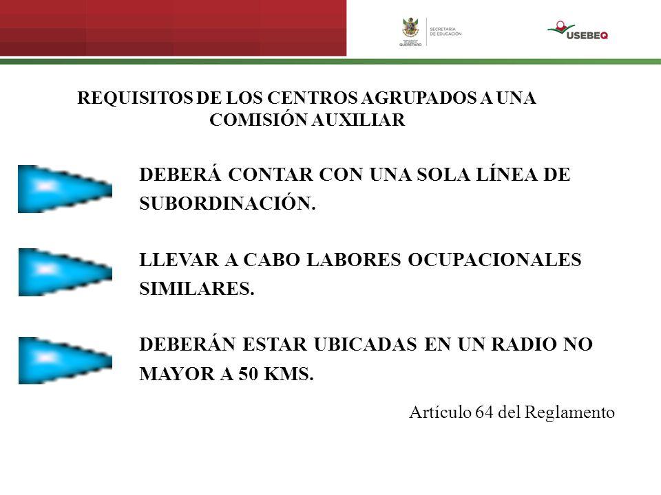 REQUISITOS DE LOS CENTROS AGRUPADOS A UNA COMISIÓN AUXILIAR