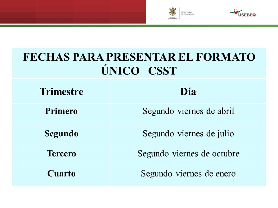 FECHAS PARA PRESENTAR EL FORMATO ÚNICO CSST