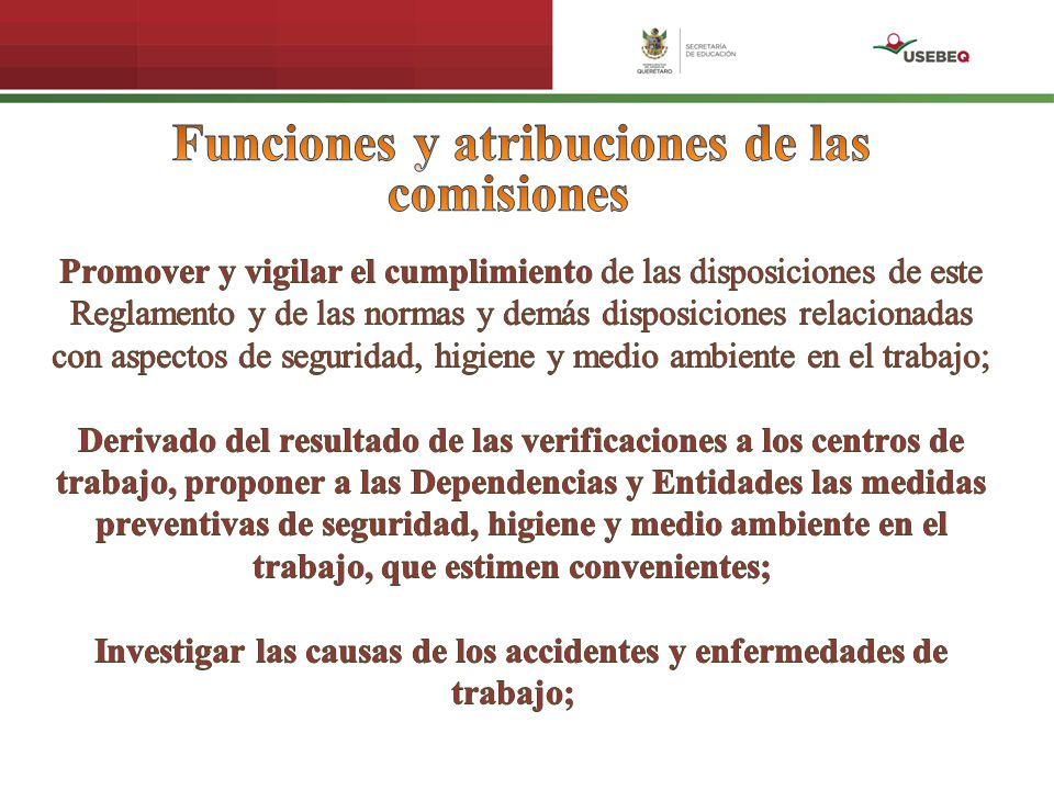 Funciones y atribuciones de las comisiones