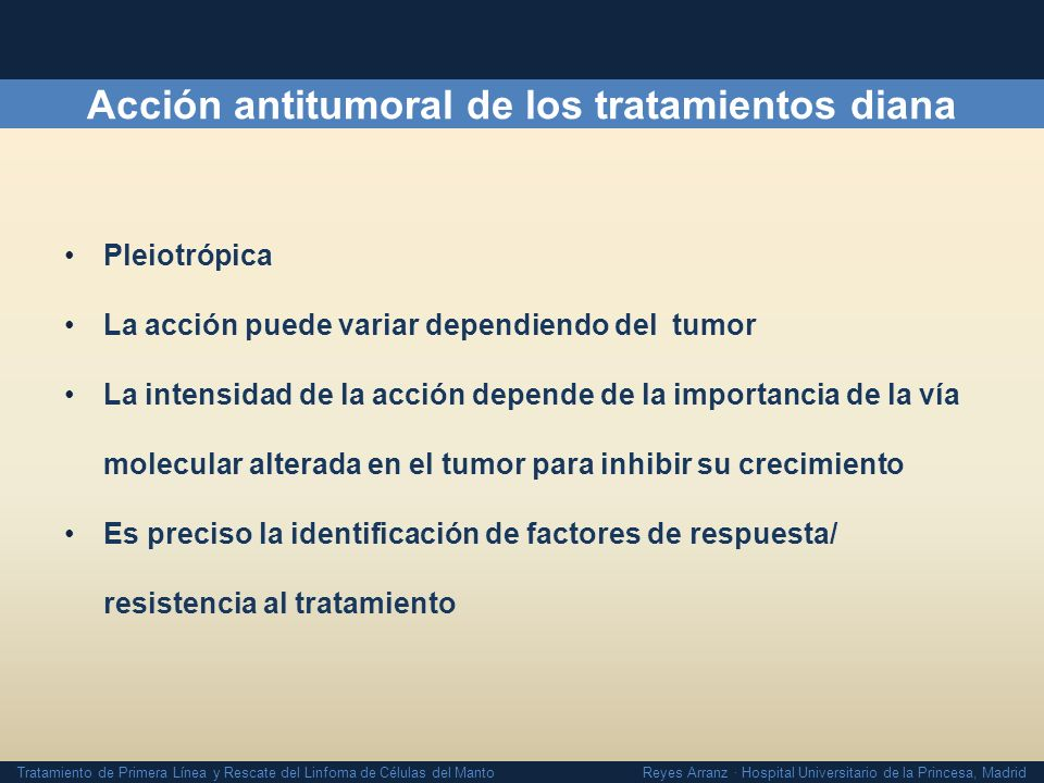 Acción antitumoral de los tratamientos diana