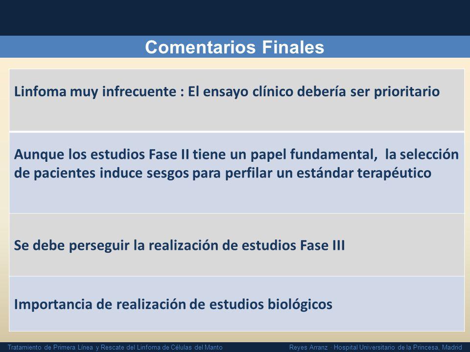Comentarios Finales Linfoma muy infrecuente : El ensayo clínico debería ser prioritario.