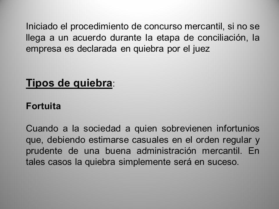 Iniciado el procedimiento de concurso mercantil, si no se llega a un acuerdo durante la etapa de conciliación, la empresa es declarada en quiebra por el juez
