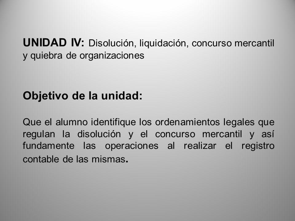 UNIDAD IV: Disolución, liquidación, concurso mercantil y quiebra de organizaciones