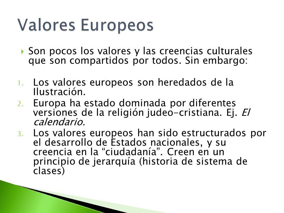 Valores Europeos Son pocos los valores y las creencias culturales que son compartidos por todos. Sin embargo: