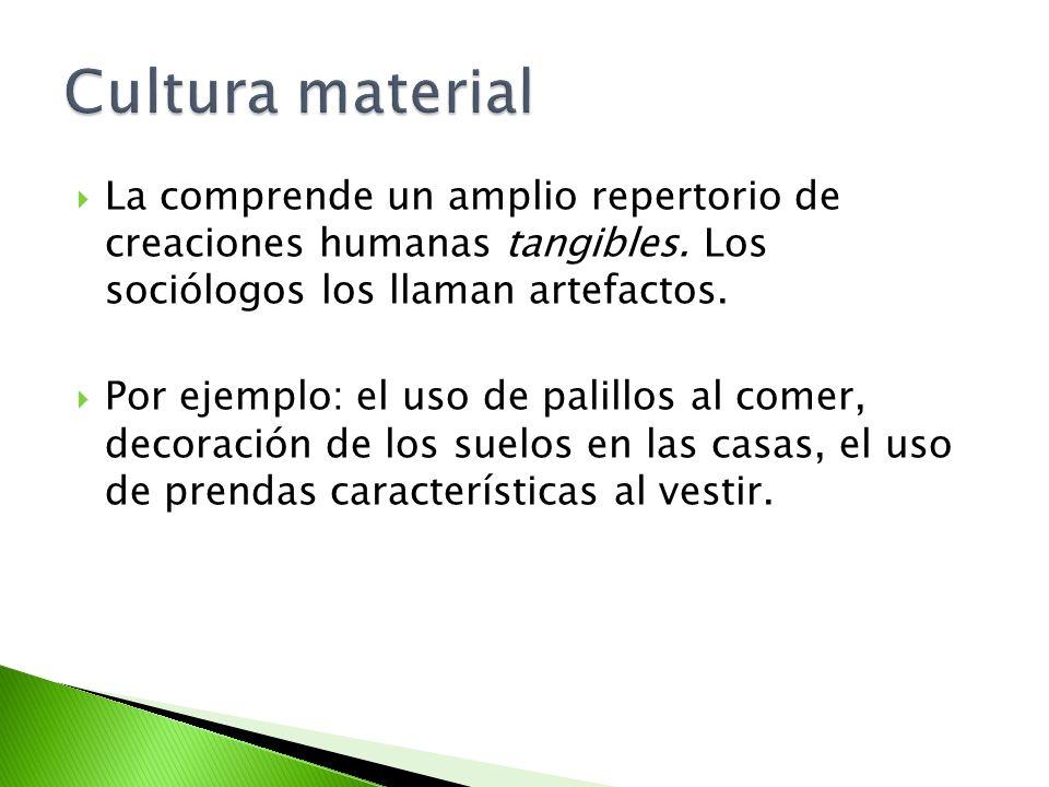 Cultura material La comprende un amplio repertorio de creaciones humanas tangibles. Los sociólogos los llaman artefactos.