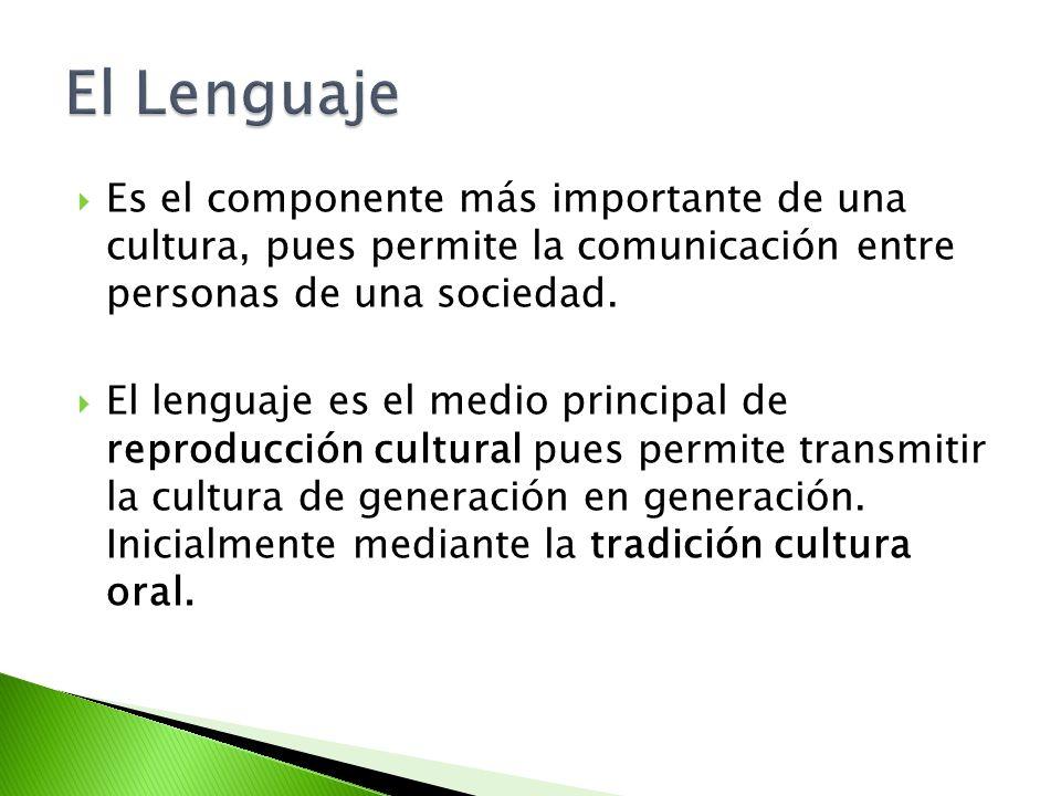 El Lenguaje Es el componente más importante de una cultura, pues permite la comunicación entre personas de una sociedad.