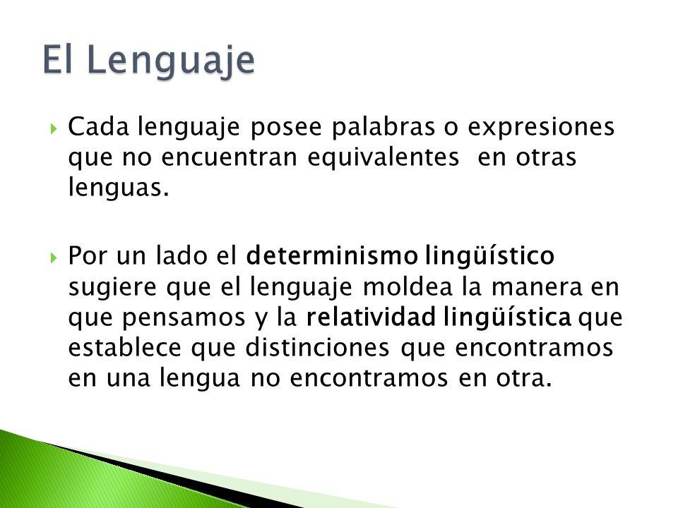 El Lenguaje Cada lenguaje posee palabras o expresiones que no encuentran equivalentes en otras lenguas.