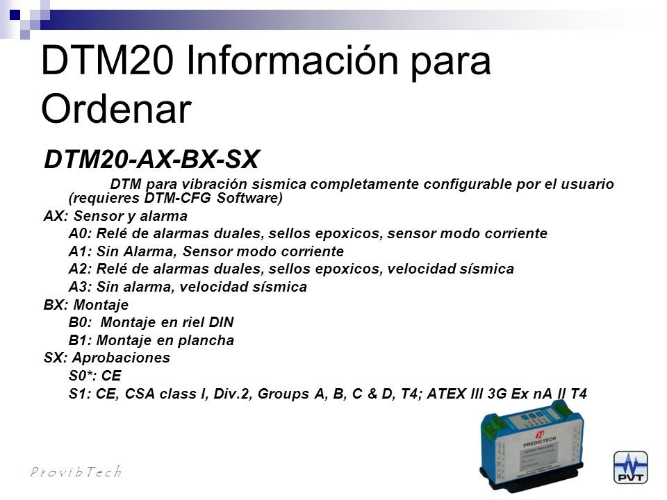 DTM20 Información para Ordenar