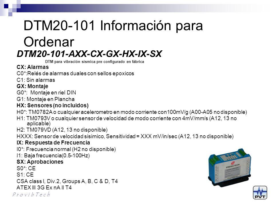 DTM20-101 Información para Ordenar
