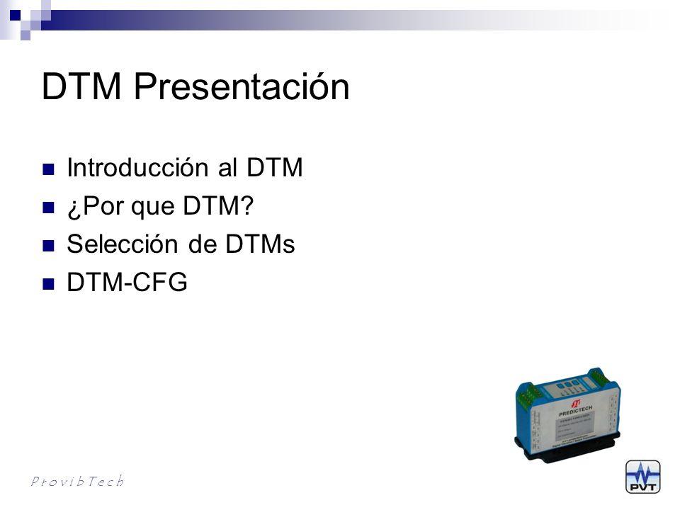 DTM Presentación Introducción al DTM ¿Por que DTM Selección de DTMs