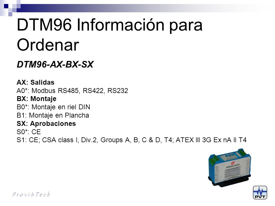 DTM96 Información para Ordenar