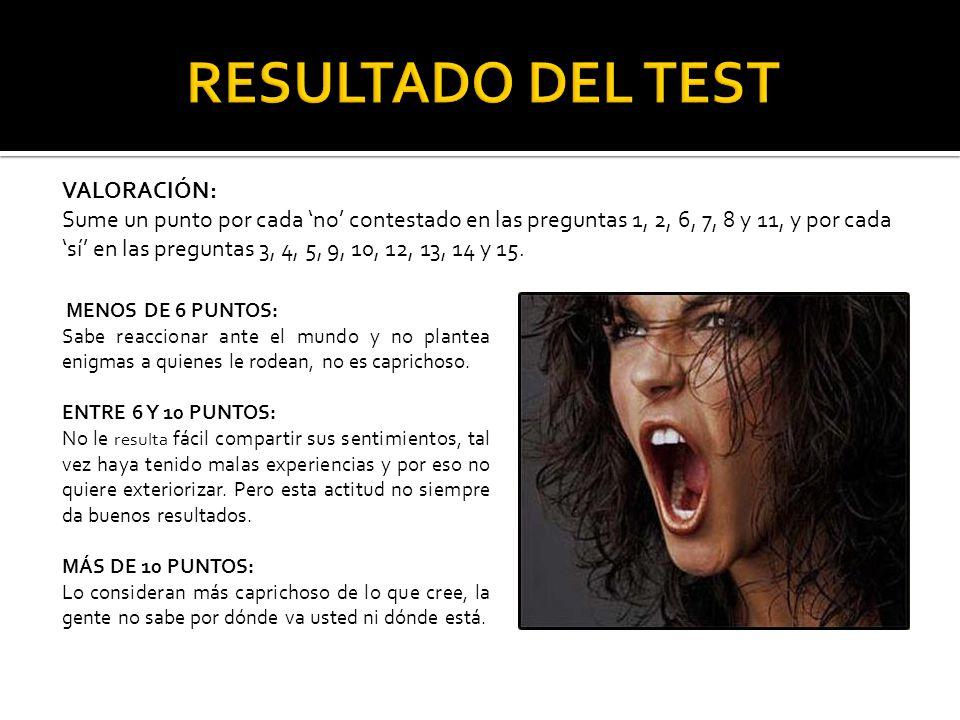 RESULTADO DEL TEST VALORACIÓN: