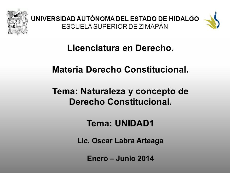 Licenciatura en Derecho. Materia Derecho Constitucional.