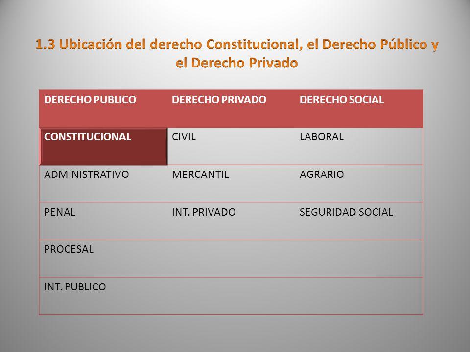 1.3 Ubicación del derecho Constitucional, el Derecho Público y el Derecho Privado