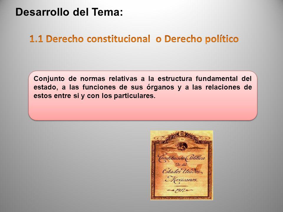1.1 Derecho constitucional o Derecho político