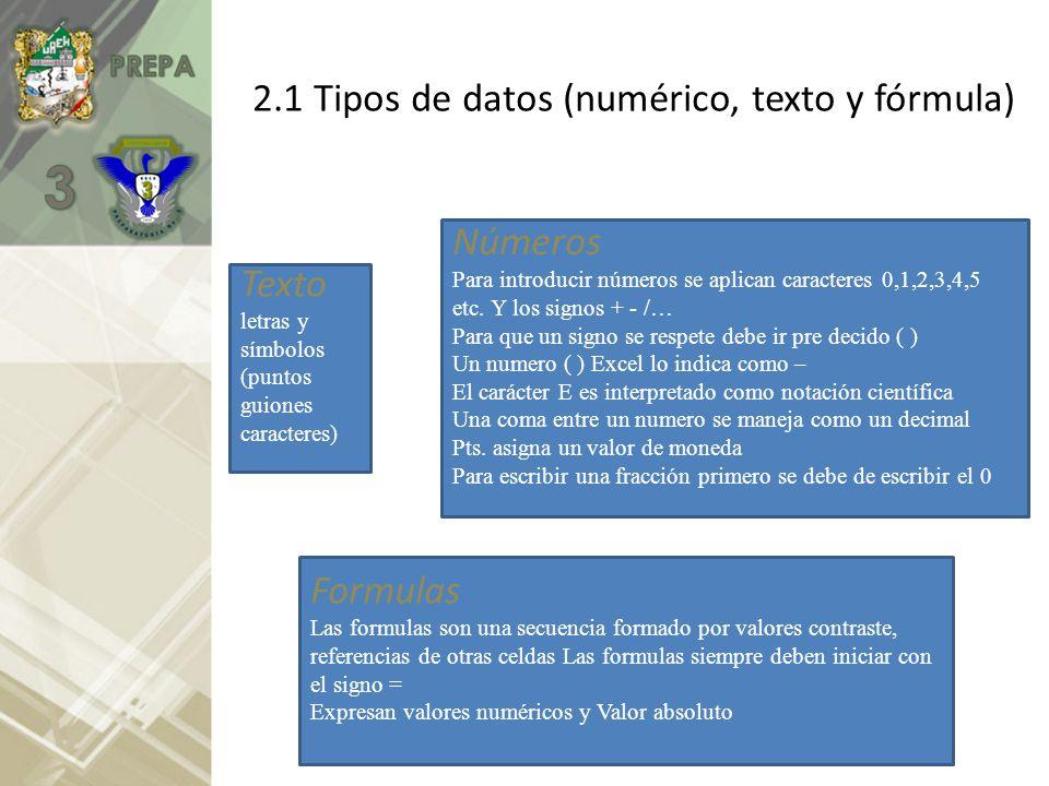 2.1 Tipos de datos (numérico, texto y fórmula)