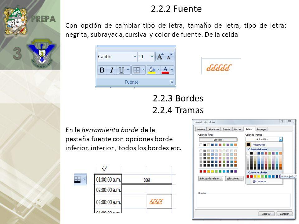2.2.2 Fuente Con opción de cambiar tipo de letra, tamaño de letra, tipo de letra; negrita, subrayada, cursiva y color de fuente. De la celda.