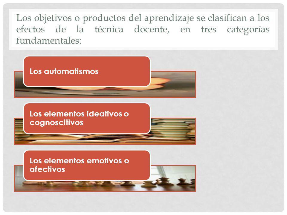 Los objetivos o productos del aprendizaje se clasifican a los efectos de la técnica docente, en tres categorías fundamentales: