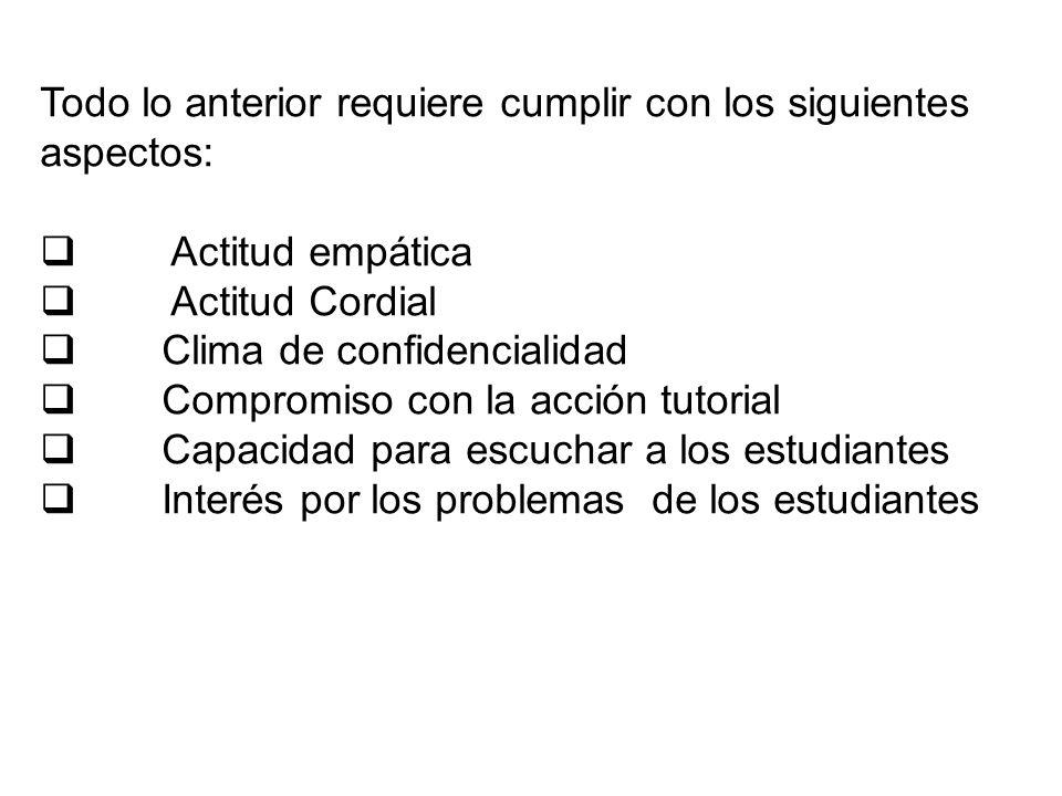 Todo lo anterior requiere cumplir con los siguientes aspectos: