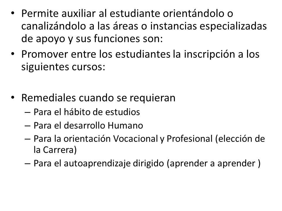 Promover entre los estudiantes la inscripción a los siguientes cursos: