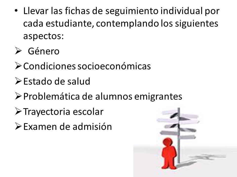 Llevar las fichas de seguimiento individual por cada estudiante, contemplando los siguientes aspectos: