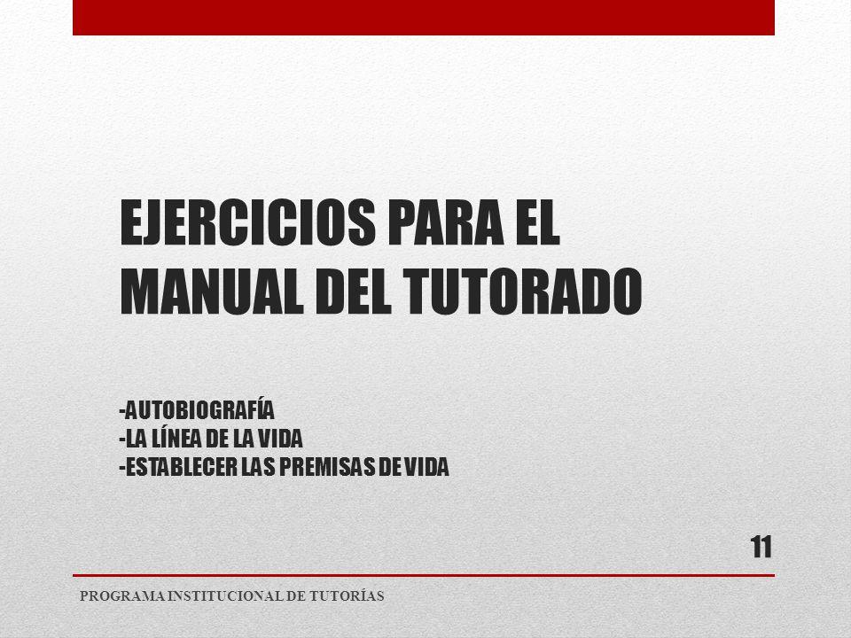 EJERCICIOS PARA EL MANUAL DEL TUTORADO -AUTOBIOGRAFÍA -LA LÍNEA DE LA VIDA -ESTABLECER LAS PREMISAS DE VIDA