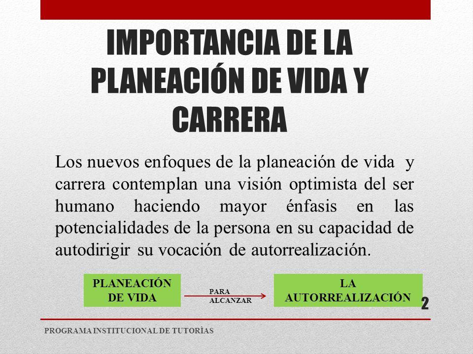 IMPORTANCIA DE LA PLANEACIÓN DE VIDA Y CARRERA
