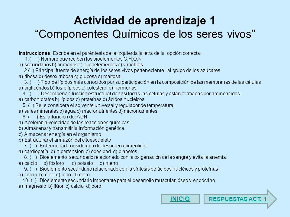 Actividad de aprendizaje 1 Componentes Químicos de los seres vivos