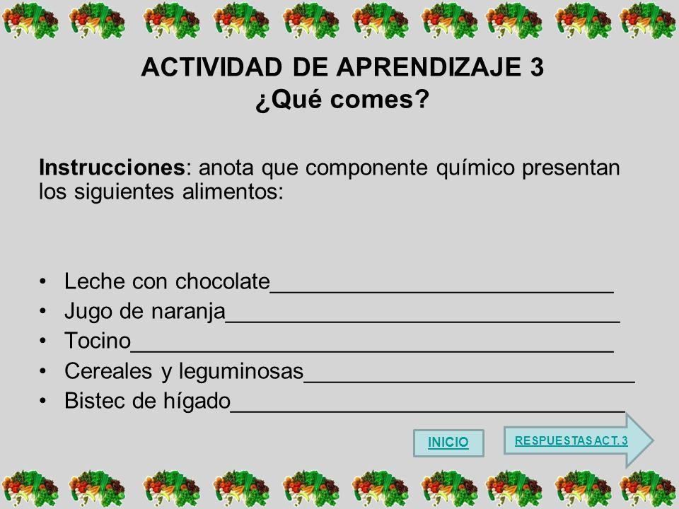 ACTIVIDAD DE APRENDIZAJE 3 ¿Qué comes