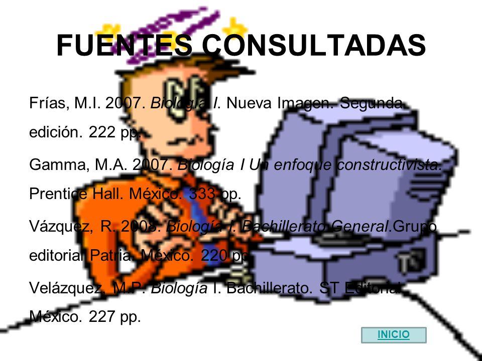 FUENTES CONSULTADAS Frías, M.I. 2007. Biología I. Nueva Imagen. Segunda edición. 222 pp.