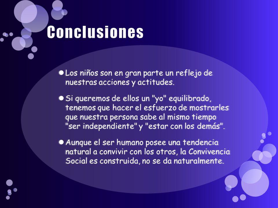 Conclusiones Los niños son en gran parte un reflejo de nuestras acciones y actitudes.