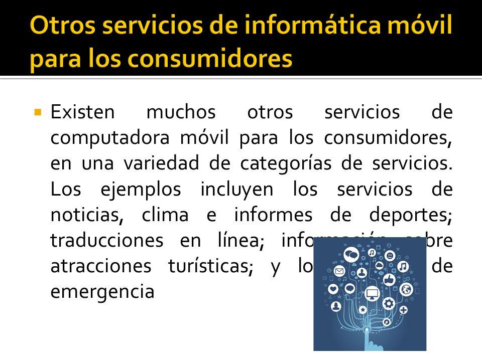 Otros servicios de informática móvil para los consumidores