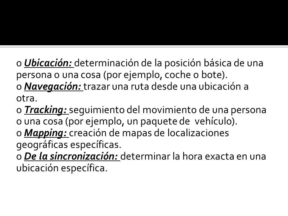 Los servicios básicos L-comercio giran en torno a cinco áreas clave: o Ubicación: determinación de la posición básica de una persona o una cosa (por ejemplo, coche o bote).