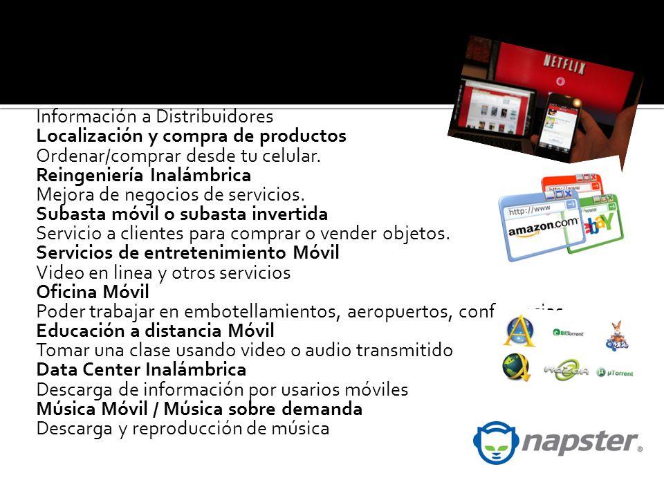 Administración Proactiva de Servicio Información a Distribuidores Localización y compra de productos Ordenar/comprar desde tu celular.