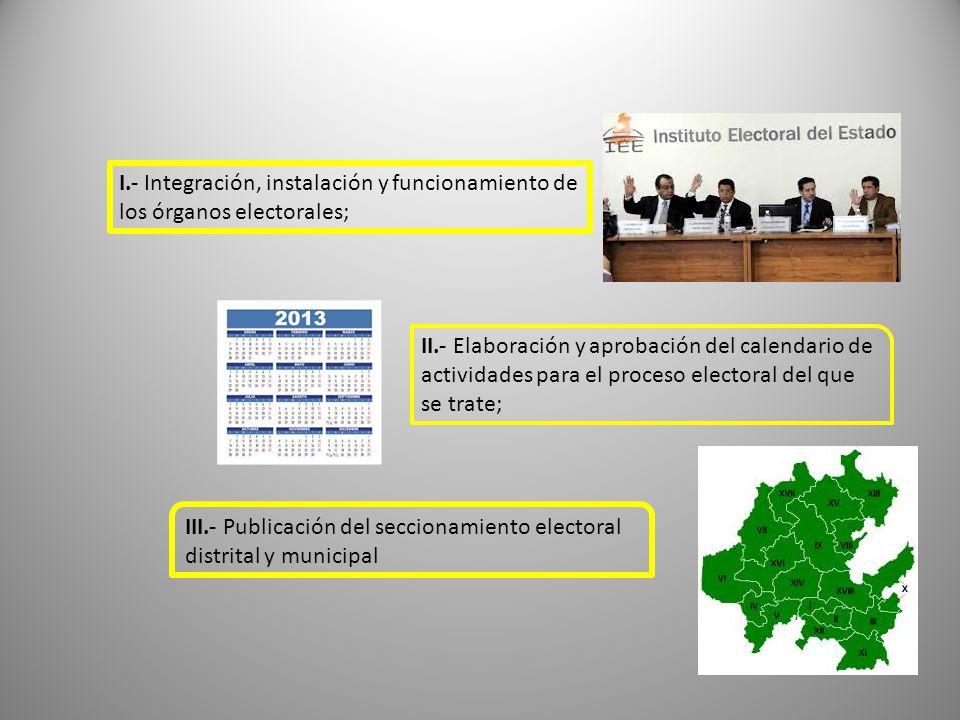 I.- Integración, instalación y funcionamiento de los órganos electorales;