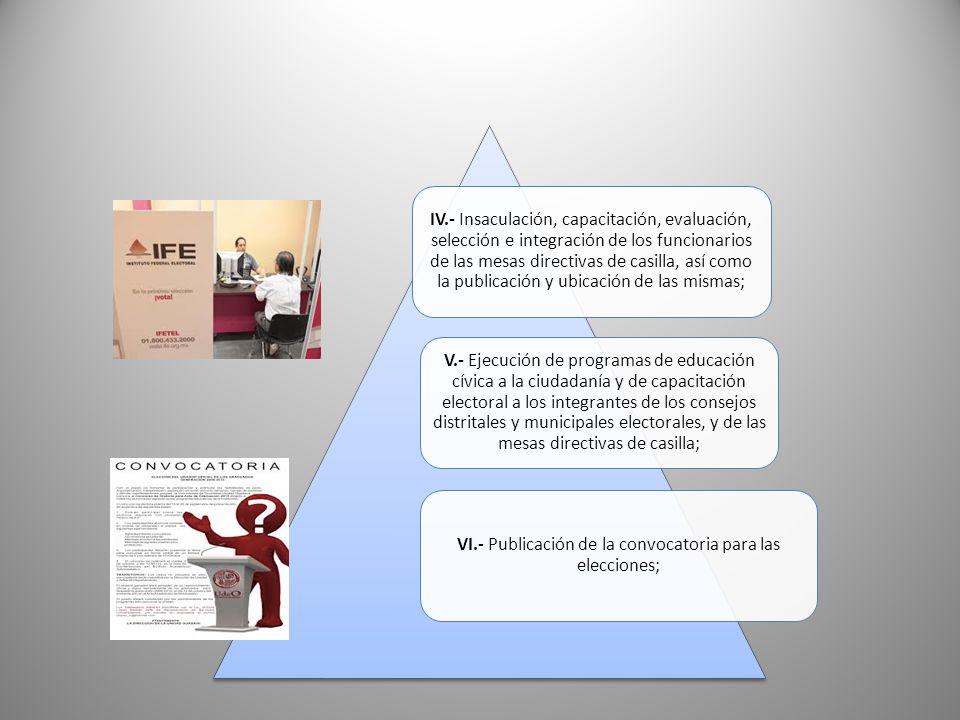 VI.- Publicación de la convocatoria para las elecciones;