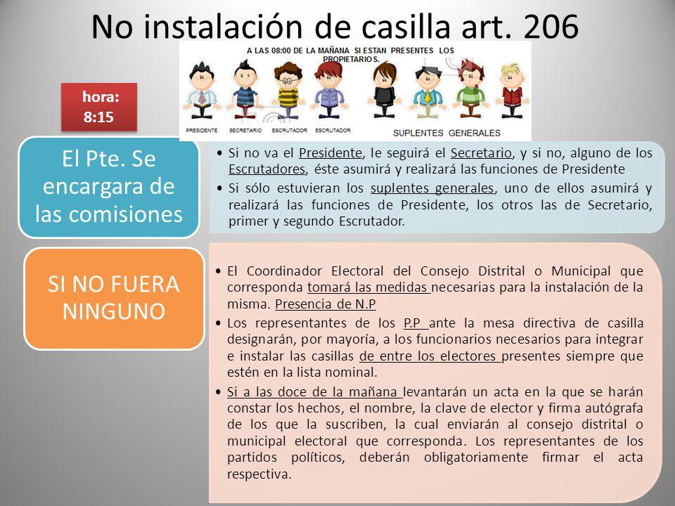 No instalación de casilla art. 206