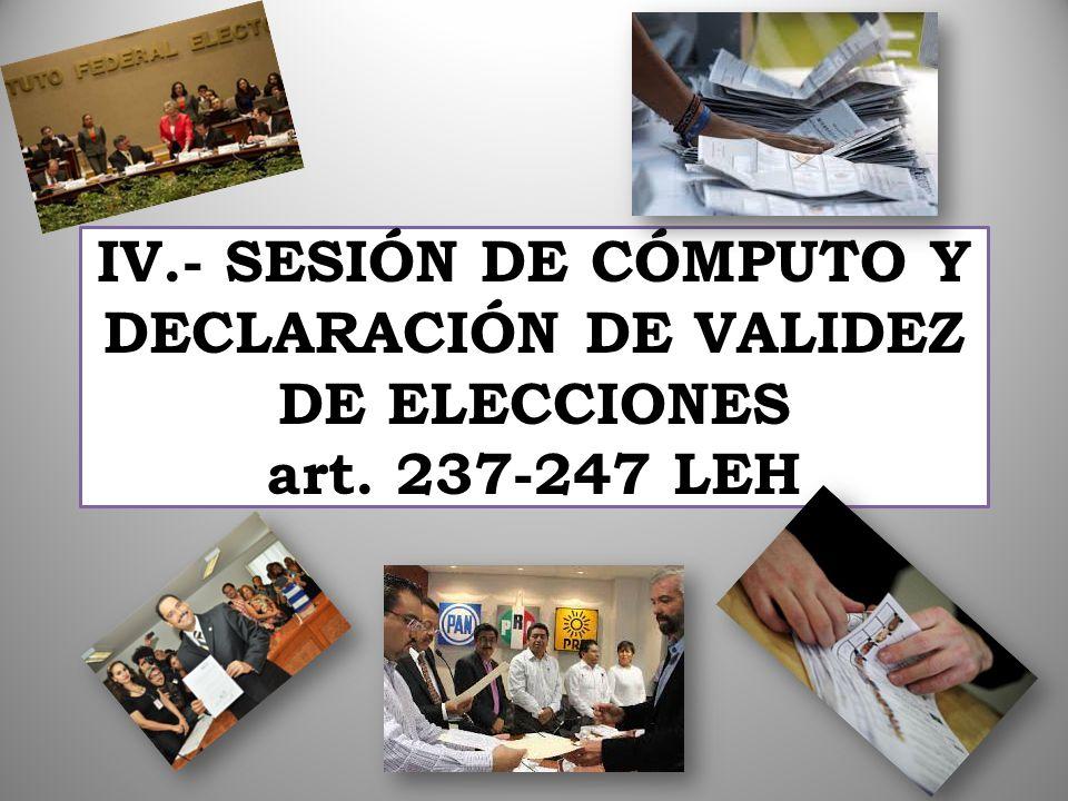 IV. - SESIÓN DE CÓMPUTO Y DECLARACIÓN DE VALIDEZ DE ELECCIONES art