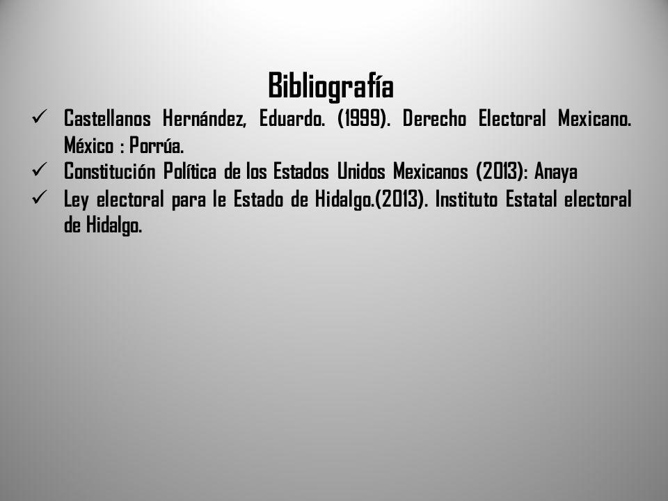 Bibliografía Castellanos Hernández, Eduardo. (1999). Derecho Electoral Mexicano. México : Porrúa.