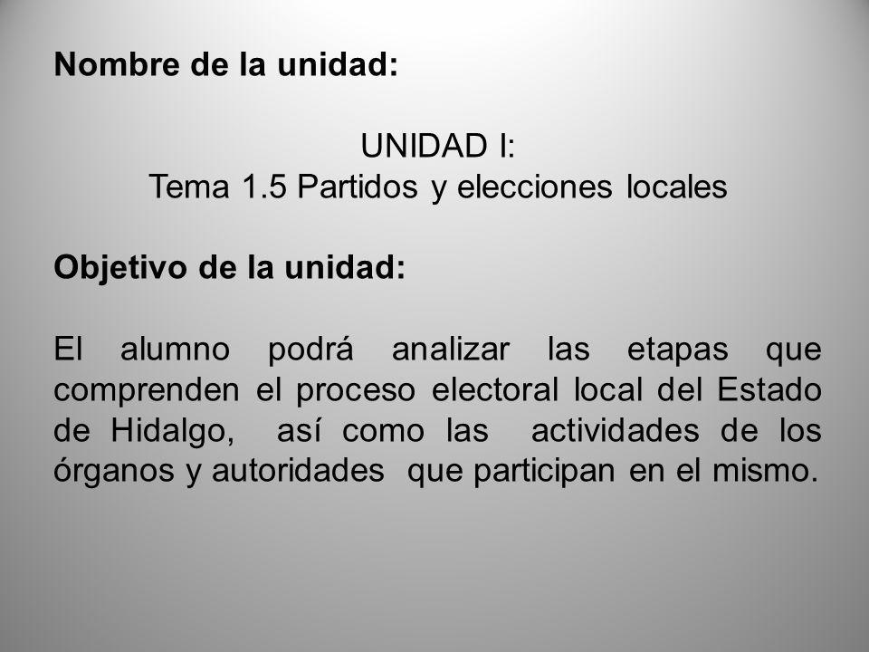 Tema 1.5 Partidos y elecciones locales
