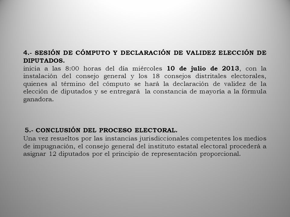 5.- CONCLUSIÓN DEL PROCESO ELECTORAL.