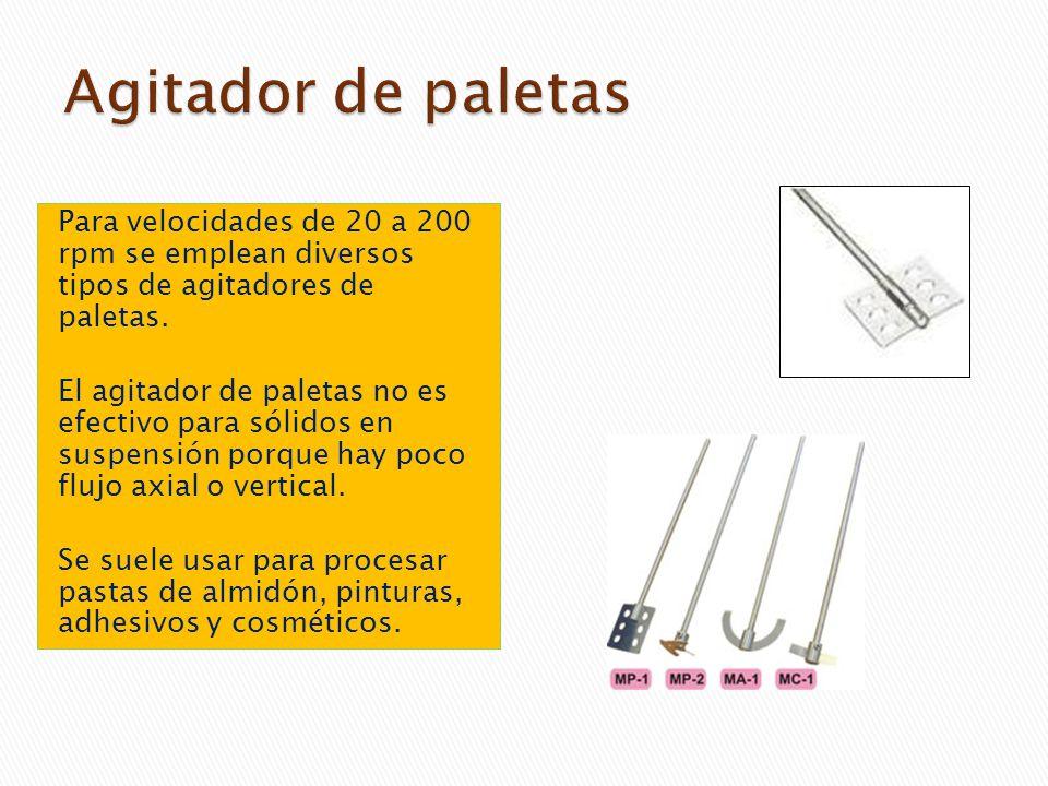 Agitador de paletas Para velocidades de 20 a 200 rpm se emplean diversos tipos de agitadores de paletas.