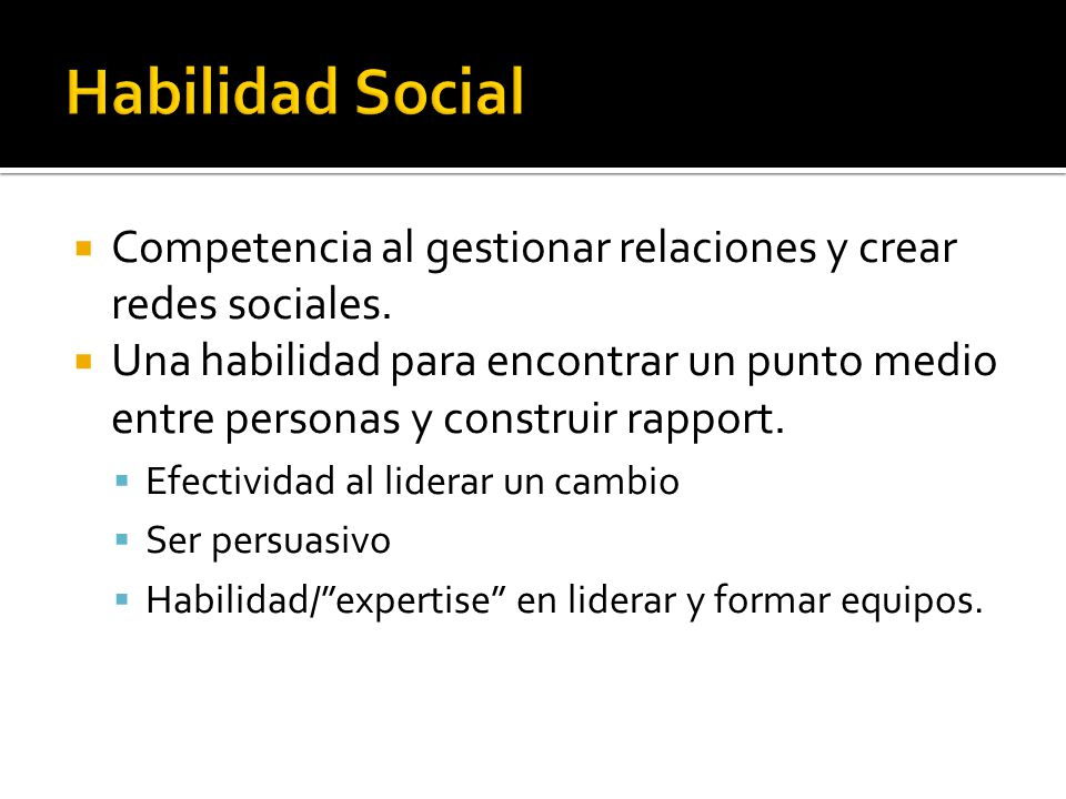 Habilidad Social Competencia al gestionar relaciones y crear redes sociales.