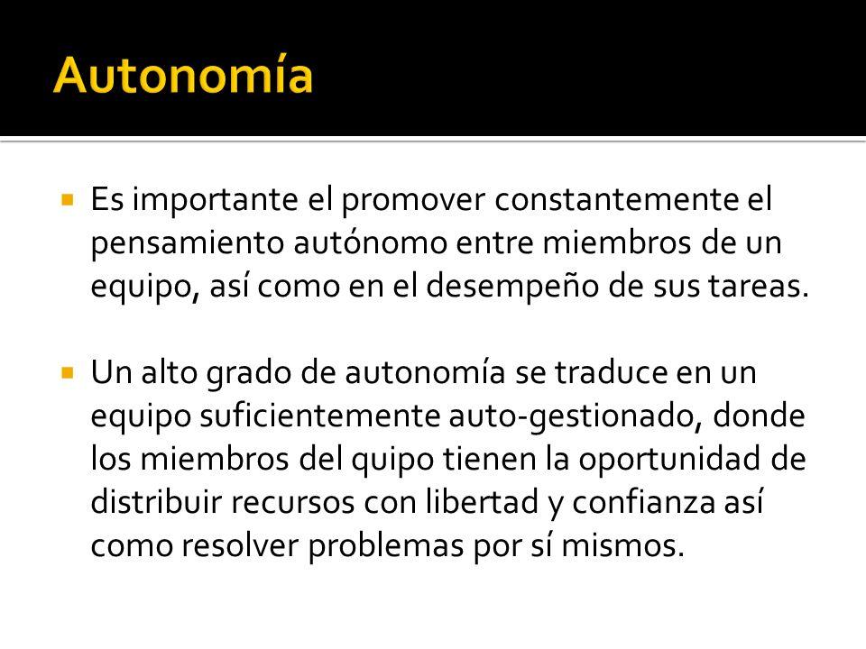 Autonomía Es importante el promover constantemente el pensamiento autónomo entre miembros de un equipo, así como en el desempeño de sus tareas.