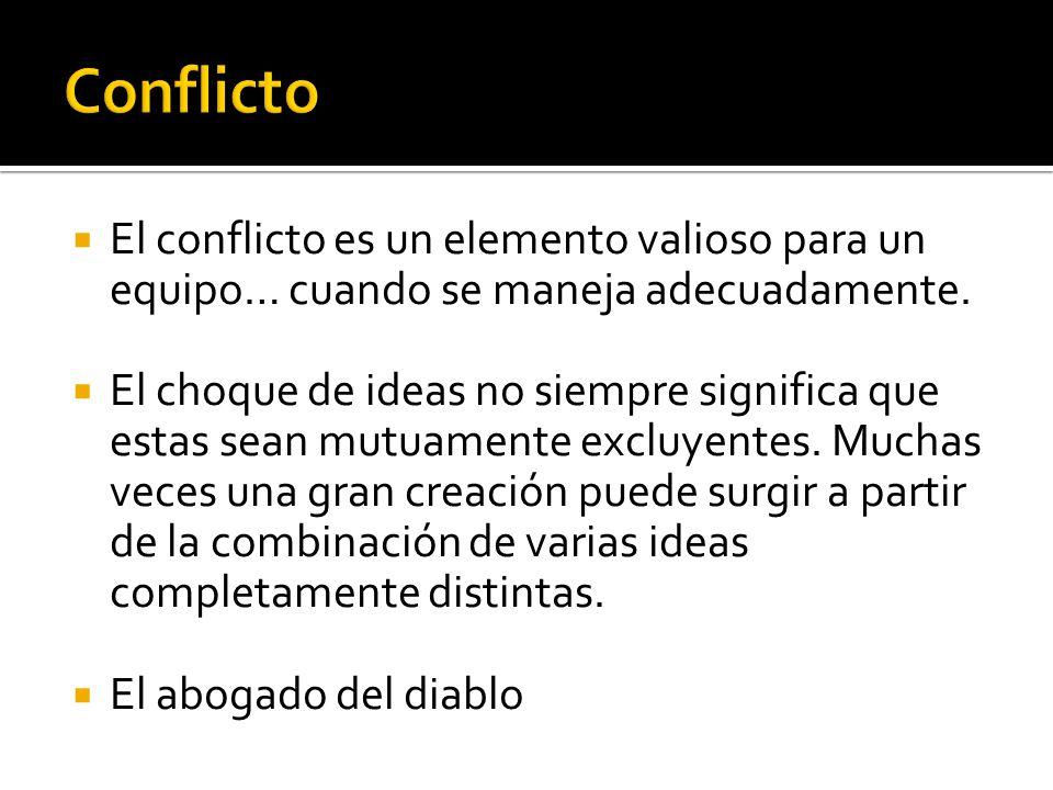 Conflicto El conflicto es un elemento valioso para un equipo… cuando se maneja adecuadamente.